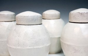 """stoneware; wheel thrown, segmented & reconstructed; cone 7; approx. H. 5"""" x W. 3.5"""" x D. 3.5"""""""