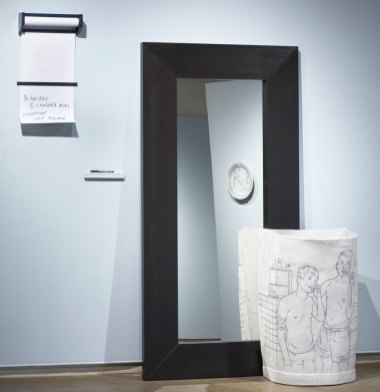 """Porcelain, mirror, paper and dispenser, marker, Dimensions Variable, Mirror 75"""", 2015"""