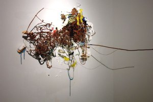 Elegy of the Music Box Umbrella, 2008, dimensions variable, terracotta, paint, glitter, altered music boxes
