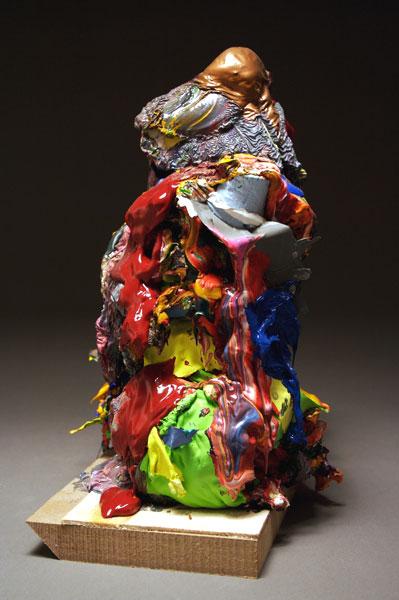 "Benjamin Demott, ""Shepherd"", 2008, H 12""x W 5""x D 6"", ceramic figurine, paint, wooden plinth"