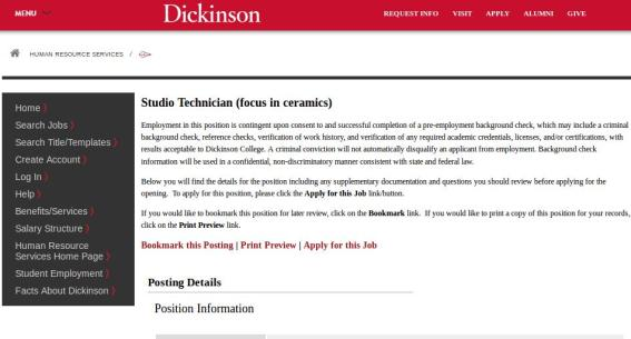 Dickinson College screenshot