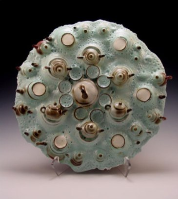 """Round Green Tea Platter, 15""""h x 15""""w x 5""""d, Yixing cups, small and medium Yixing teapots and glazes, 2007"""