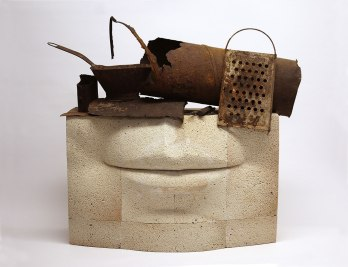 50x50x25 cm., refractory bricks, rusty metal objects, 2015