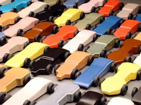 """2009, Porcelain, glaze, steel, epoxy, 6"""" L x 2.5"""" W x 1"""" H (1 car)"""
