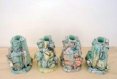 2013, Porcelain, Underglaze, Mason Stain, Cone 6, 5x6x3 each