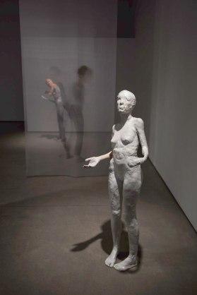 "figure in foreground: 21"" x 16"" x 57"", Stoneware, Earthenware, Majolica, Silk Organza, 2017"