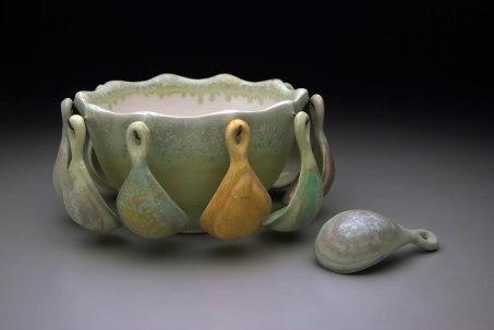 """cone six matte crystalline-glazed porcelain, 9"""" x 15"""" x 15"""""""