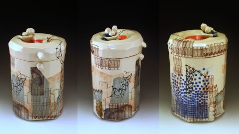 """9.5"""" h x 5"""" w x 5.5""""d, porcelain, decals and wire, 2013"""