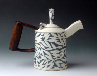 Teapot with Shovel Handle and Hinged Lid, hand-built with slabs and extruded elements, white stoneware, stenciled cobalt/copper slipcone 10 reduction, 10 inches tall, 2014