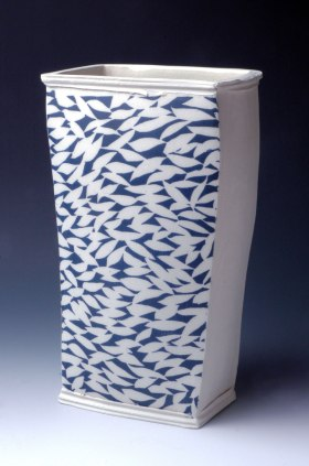 Vase with Blue Leaves, hand-built with slabs, white stoneware and stenciled cobalt/copper slip, cone 10