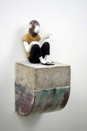 """9.5 x 4.25 x 4.25"""", Porcelain, terracotta and concrete, 2015"""