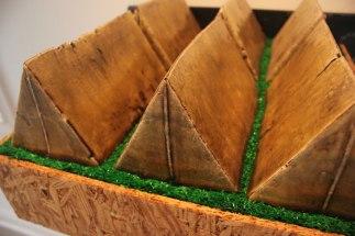 earthenware, slip, stain, glaze, turf, osb plywood, steel, wood