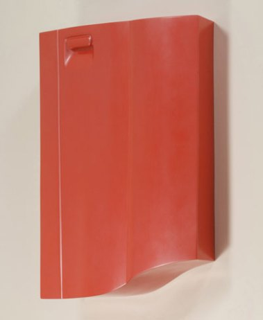 "reinforced ceramic, automotive paint, 48"" x 28"" x 5"", 2007"