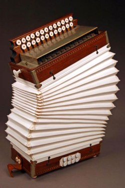 "Death of an Accordion, Porcelain, Wood, Brass, H23""x W16"""
