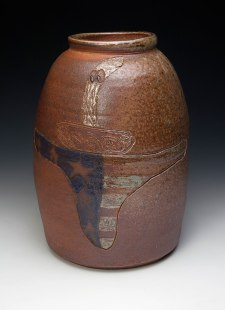 "War Crock (#shockNawe), ceramic, wood soda fired, 16x8x8"", 2013"