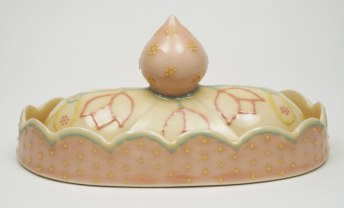 "Slab-built porcelain, colored slips and glaze, cone 6 - 8""x4.5""x4"""