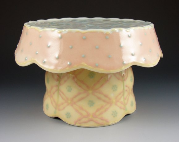 """Wheel-thrown and assembled porcelain, colored slips and glaze, cone 6 - 10""""x10""""x9"""""""