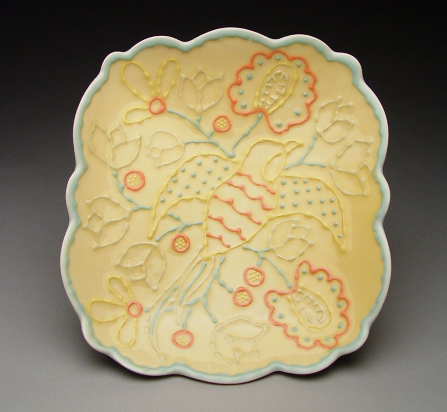 "Slab-built porcelain, colored slips and glaze, cone 6 - 13""x9""x2"""