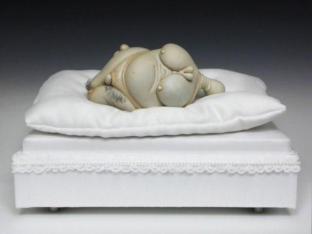 "Pearl, porcelain, hair, nail polish, steel (base: satin), 12"" x 8"" x 7"", 2012"