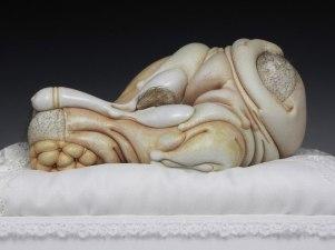 "Angel, porcelain, hair, nail polish, steel (base: panties, silk), 15"" x 11"" x 9"", 2012"