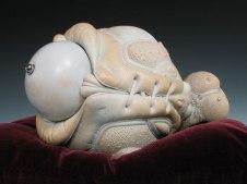 """Cherry, porcelain, hair, steel (base: velvet), 10"""" x 7"""" x 8"""", 2009"""