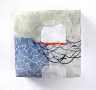 """Ceramic, stains, gouache, gesso, pencil, encaustic, cold wax, 8 x 8 x 3"""""""
