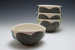 cone 6 porcelain, slip, terra sig., glaze 2017