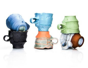 "Justin Donofrio, ""Mug Lineup: Colored Porcelain"""
