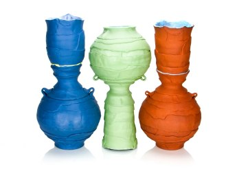 "Justin Donofrio, ""Large Bottle Trio: Colored Porcelain"""