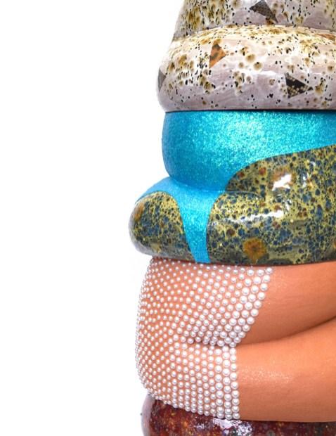 2018, 67 in x 14 in x 14 in, Ceramic, Mayco Jungle Gems Crystal Glaze, glitter, Mod Podge, Swarovski crystals, acrylic pearls, sprayed rubber, imitation gold leaf, Ikea stool