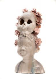 Child With Death Mask Ceramic, 20.5 x 10 x 9 inches, 2016
