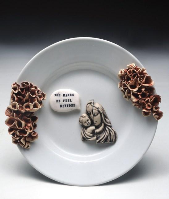"""Stoneware, glaze, slip-cast figure, re-fried found object, 8"""" x 8"""" x 2.5"""""""