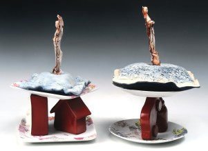 """Slip-cast multiples, re-fired found objects, ceramic decals, 16"""" x 16"""" x 13"""""""
