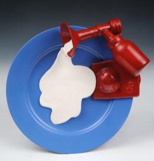 "Slip cast porcelain, mixed media, 3"" x 11"" x 11"""