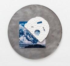 Glazed earthenware, found image, steel. 2017