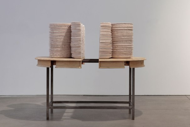 Hand-machined ceramic, steel, found table top, 56 x 70 x 36""
