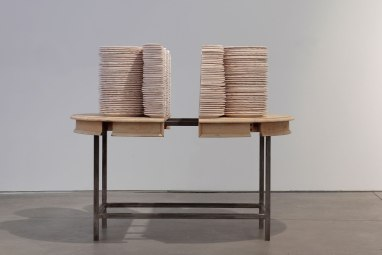 """Hand-machined ceramic, steel, found table top, 56 x 70 x 36"""""""