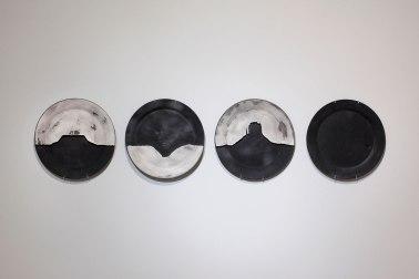 "Hand-machined ceramic, gold leaf, India ink, 13 x 55 x 2"""