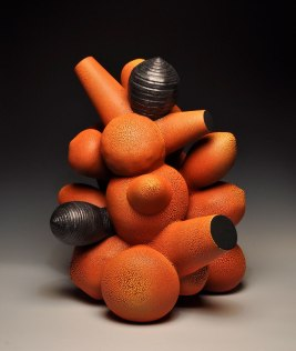 "Thrown and hand-built earthenware, multiple glaze firings, 27x22x20"""