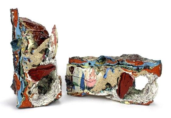"""2015, Various reclaimed ceramic materials; 10″ x 5.5″ x 6″ (left), 5.5"""" x 11"""" x 4.5"""" (right)"""
