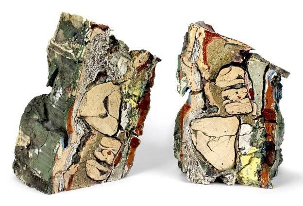 2015, Various reclaimed ceramic materials; 9″ x 7″ x 5″ (left), 9″ x 5.5″ x 6″ (right)