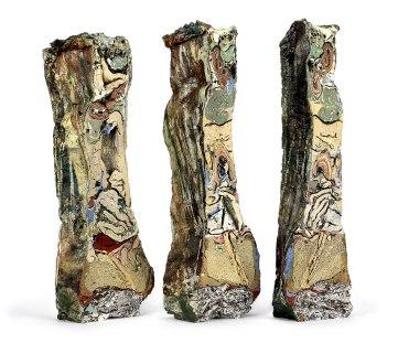 2015, Various reclaimed ceramic materials; 17.5″ x 6″ x 3.5″ (left), 18″ x 6″ x 3″ (center), 18″ x 5″ x 3.5″ (right)