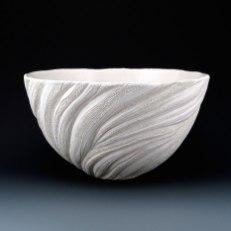 "6 1/4"" x 11"", wheel thrown stoneware, porcelain slip, clear glaze. electric oxidation Cone 6"