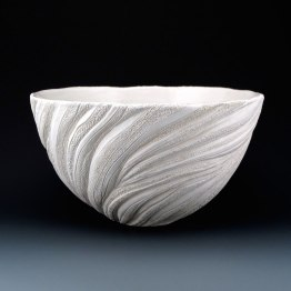 "6 1/4"" x 11"", wheel thrown stoneware, porcelain slip, clear glaze. electric oxidation Cone 6"