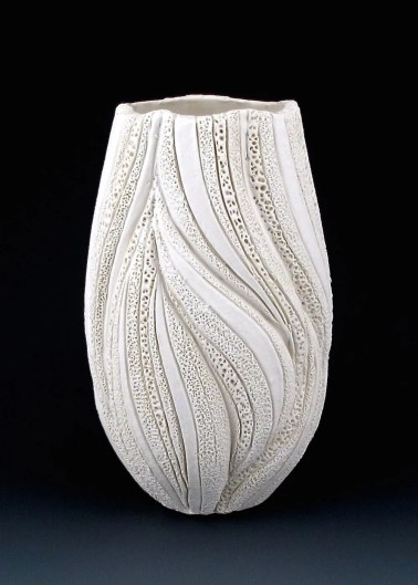 "8 1/4"" x 5"", wheel thrown stoneware, porcelain slip, clear glaze. electric oxidation Cone 6"