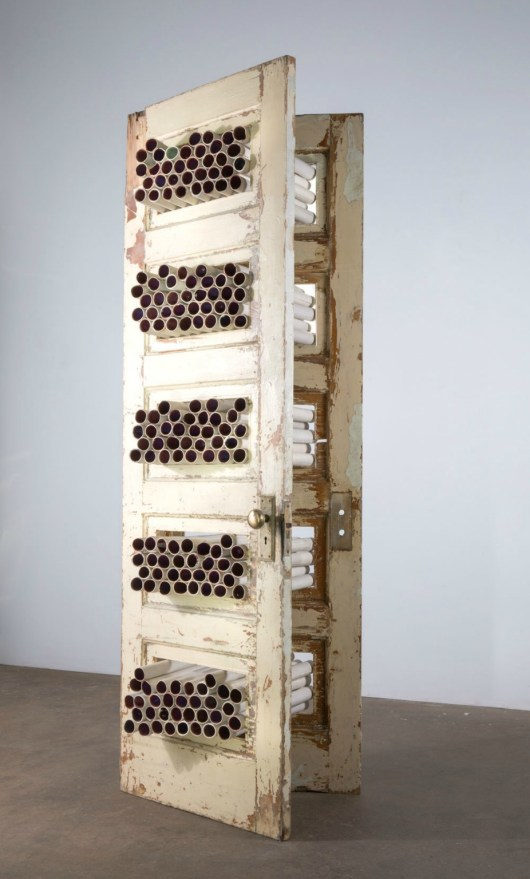 "Porcelain, Found Doors, Beeswax, Acrylic Medium. 84""H x 30"" W x 20""D. 2015"