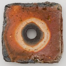 """Wood fired raw and industrial kaolins. 16"""" x 16"""" x 3"""". 2008. Museum of Fine Arts Houston, Garth Clark and Mark Del Vecchio Collection"""