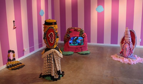"""2018, Installation: ceramics, metal, wood, fabric, wool, wire, paint, epoxy, video, 156 x 216 x 216"""""""