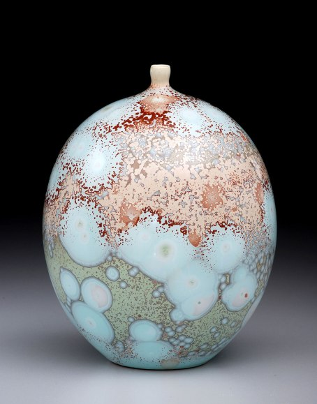 Porcelain, Cone 10 Oxidation, Multiple Shiny Crystalline Glazes, 7.25 inches tall