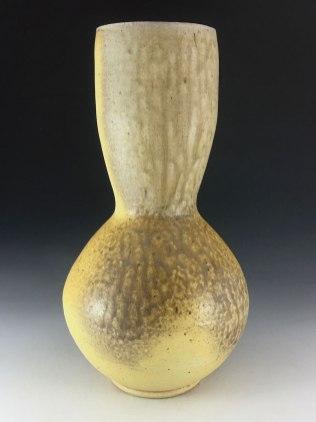 wheel thrown white stoneware, wood and soda fired, 13x6x6. 2017